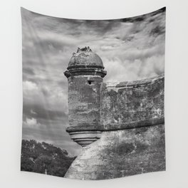 Castillo de San Marcos - black and white Wall Tapestry