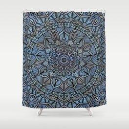 Circle of Life Mandala full color on blue swirl Shower Curtain