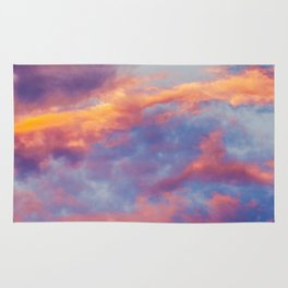 Beautiful Pink Orange Blue Purple Cotton Candy Clouds Fairytale Sky Rug
