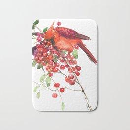 Cardinal Bird and Berries, red green Christmas colors artwork design Cardinal lover Bath Mat