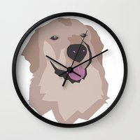 golden retriever Wall Clocks featuring Tyson the Golden Retriever by BulanLifestyle