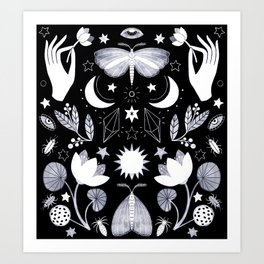 Lotus and Moths Art Print