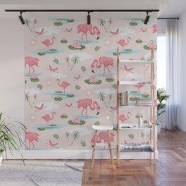 Flamingos and waterlilies Wall Mural