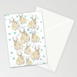 Watercolor Grumpy Jackalope Antler Bunny Stationery Cards