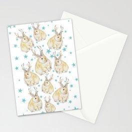 Watercolor Grumpy Jackalope Antler Bunny Stationery Cards