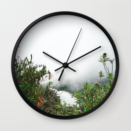 Greenery in Clouds | Nature Landscape Photography of Misty Cloudy Lake with Greenery Wall Clock