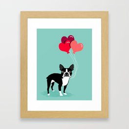 Boston Terrier Valentine heart balloons for pet owners and dog lovers gift for someone they love Framed Art Print