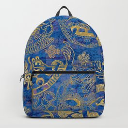 Mexican gold on blue Backpack