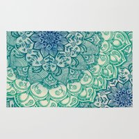 mandala Area & Throw Rugs featuring Emerald Doodle by micklyn