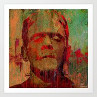 frankenstein Art Prints featuring frankenstein by Ganech joe