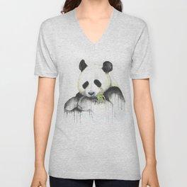 panda with munchies Unisex V-Neck