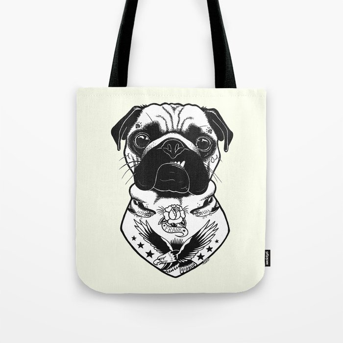 Dog - Tattooed Pug Tote Bag