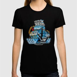 Classic Muscle Car Hot Rod Chrome Racing Engine Cartoon T-shirt