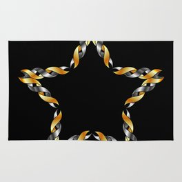 A decorative Celtic fractal flower in metallic colors Rug