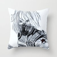 the winter soldier Throw Pillows featuring Winter Soldier  by Pruoviare