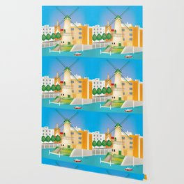 Rotterdam, Holland - Skyline Illustration by Loose Petals Wallpaper