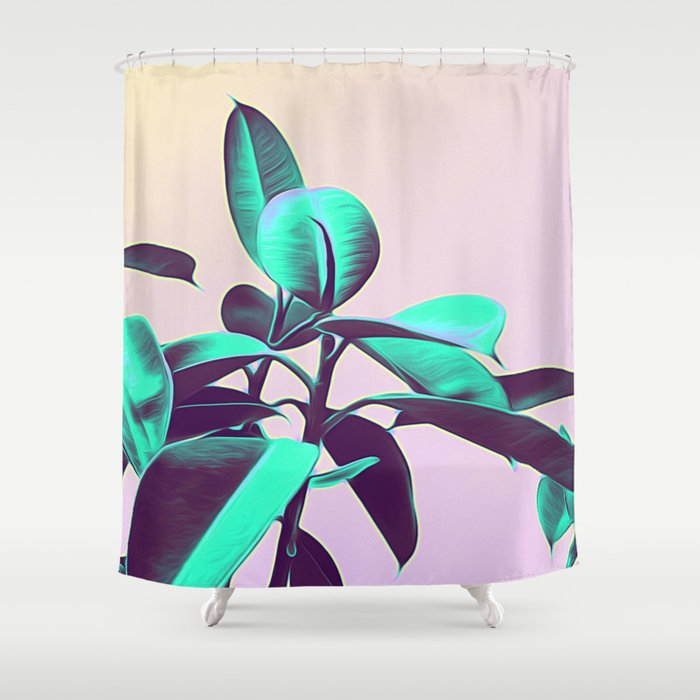 Iridescent Green Leaves Shower Curtain