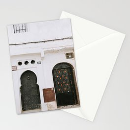 doors of Morocco | white and green Marrakech style photography print Stationery Cards