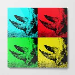 Pop Art Rhino Horns - Help fund education for the impoverished in Malawi, Africa.  #MoreThanAid. Metal Print