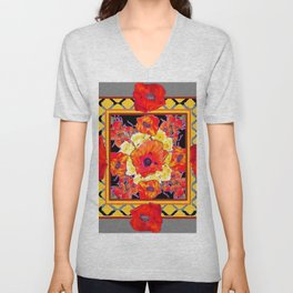 DECORATIVE GREY FLORAL  ABSTRACTED  ORANGE-RED POPPIES Unisex V-Neck