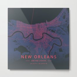 New Orleans, United States - Neon Metal Print