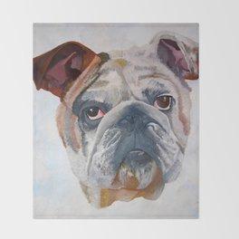 American Bulldog Portrait: Yale Mascot Throw Blanket