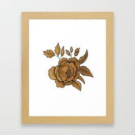 Rose in Gold Framed Art Print