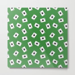Playing cards clubs suit on green Metal Print
