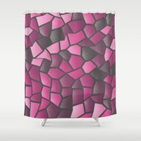 hot pink Shower Curtains featuring Hot Pink Mosaic by J&C Creations