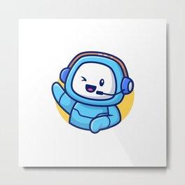 Cute Robot Cartoon Vector Icon Illustration Techology Robot Icon Concept Isolated Premium Vector Fla Metal Print