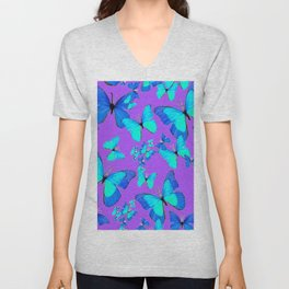 BLUE BUTTERFLIES ABSTRACT ON LILAC PURPLE  ART Unisex V-Neck