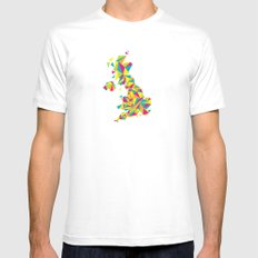 Abstract United Kingdom Bright Earth Mens Fitted Tee White MEDIUM