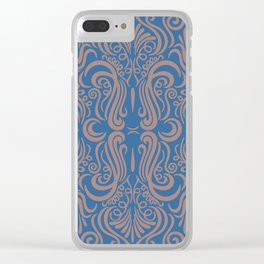 Vintage Ornaments Blue Clear iPhone Case