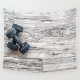 Gym fitness dumbbells weights exercise  background Wall Tapestry