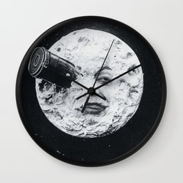 Vintage 1902 'Man in the Moon' silent film black and white photography Wall Clock