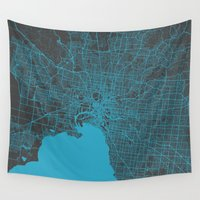 melbourne Wall Tapestries featuring Melbourne map by Map Map Maps