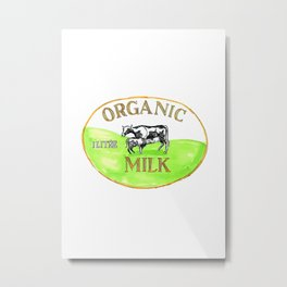 Cow Organic Milk Label Drawing Metal Print
