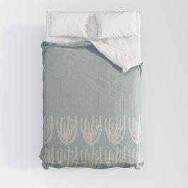 Mesh Wildflower Cuff Minimalist Pattern in Light Blue-Gray and Cream Comforters