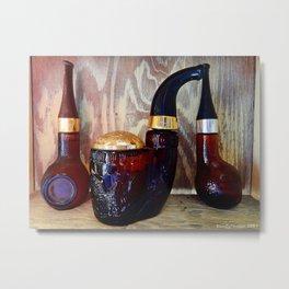 Glass Pipe Bottles Metal Print