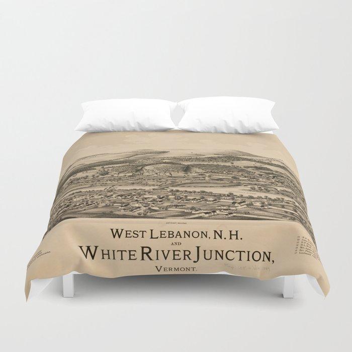 Old Lebanon Nh White River Junction Vt Map 1889 Duvet Cover By