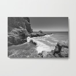 Waves crash along Rancho Palos Verdes coastline Metal Print