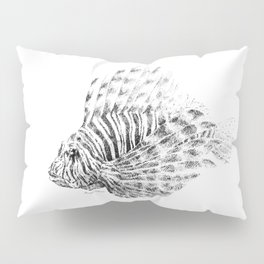 Lionfish - Pterois volitans (black and white, with scientific name) Pillow Sham