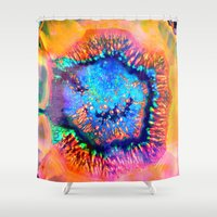 agate Shower Curtains featuring Colorful agate by haroulita