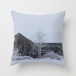Winter Barn Scene Throw Pillow