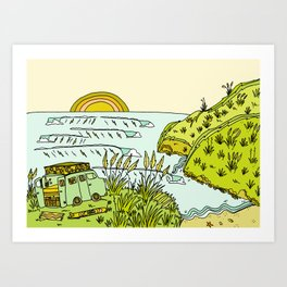 home is where you park it // wandering in new zealand // retro surf art by surfy birdy Art Print