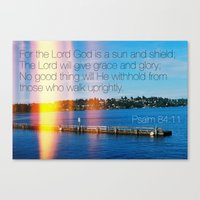 bible verse Canvas Prints featuring Bible Verse: Sun and Shield by Breathealittlesparkle