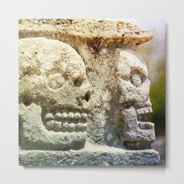 Mayan Stone Skulls Metal Print