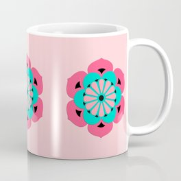 Lotus Flower Mandala, Coral Pink and Turquoise Coffee Mug