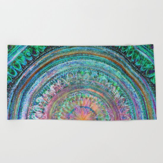 Pink and Turquoise Mandala Beach Towel