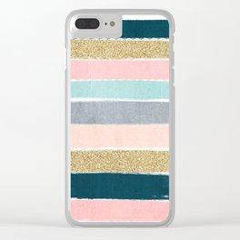 Zara - minimal gold navy pink pastel stripes painterly boho decor trendy gifts Clear iPhone Case